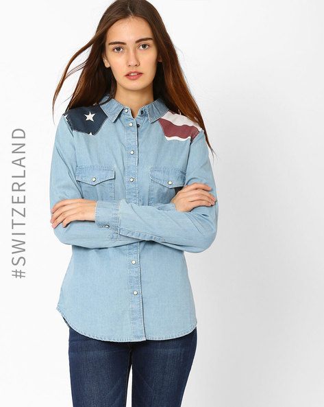 Denim Shirt With Contrast Yoke By TALLY WEiJL ( Lightblue )