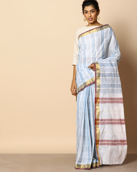 Kanchi Cotton Striped Saree With Zari Border By Indie Picks ( Blue )