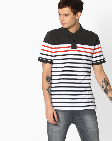 Slim Fit Striped Polo T-shirt By Blue Saint ( Multicolor )
