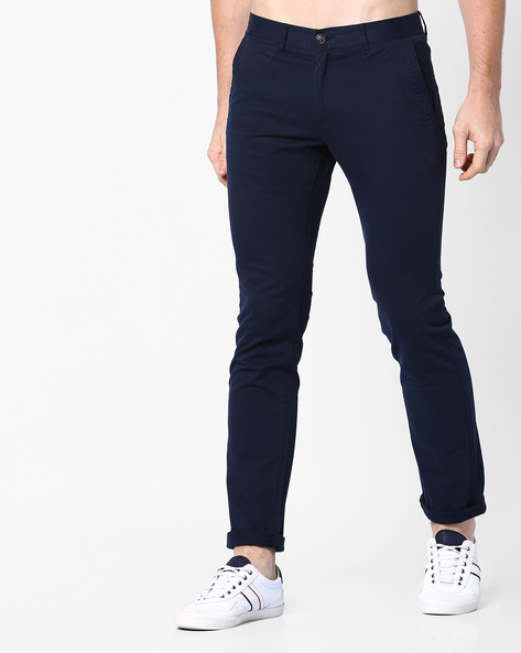 Slim Fit Mid-Rise Chinos By NETPLAY ( Navy )