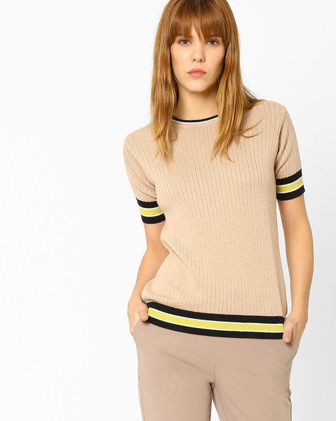 Flat-Knit Sweater By AJIO ( Beige )