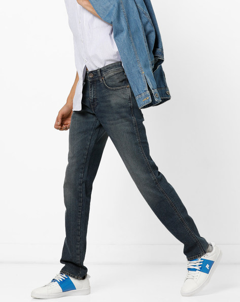 Slim Fit Jeans With Whiskers By WRANGLER ( Blue )