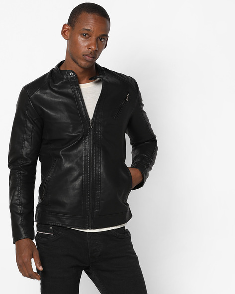 Biker Jacket With Front Zipper By The Indian Garage Co ( Black )