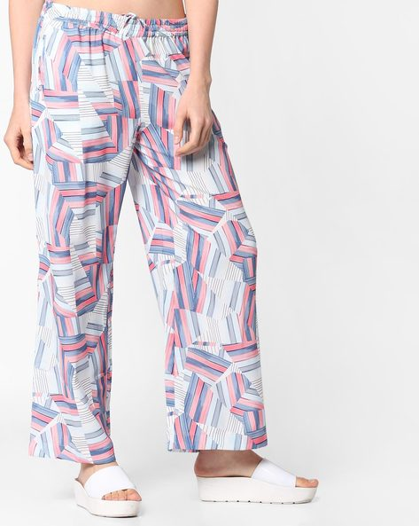 Printed Palazzos With Pockets By Project Eve WW Casual ( Blue )
