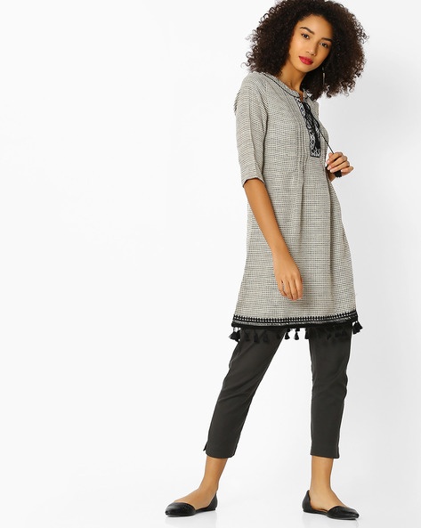 Woven Tunic With Pintucks By FUSION BEATS ( Cream )