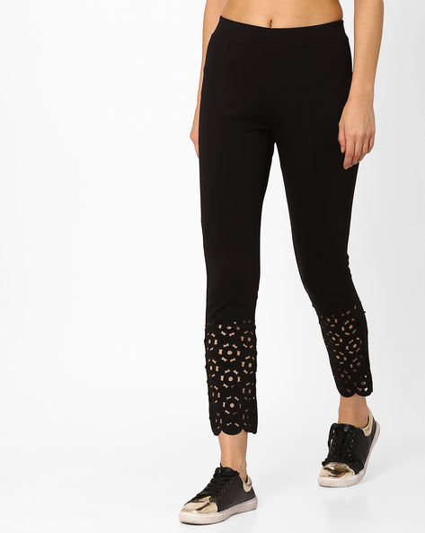 Ankle-Length Leggings With Cut-Outs By CODE By Lifestyle ( Black )
