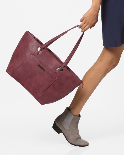 Tote Bag With Zipper Closure By CAPRESE ( Grape )