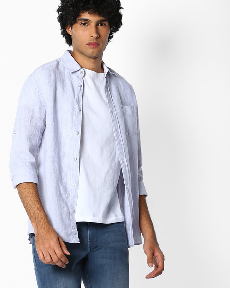 Pure Linen Shirt With Roll-Up Sleeves By Celio ( Grey )