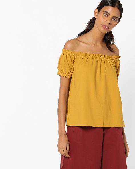Off-Shoulder Top By Vero Moda ( Golden )