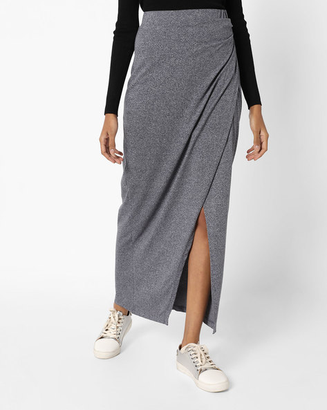 Maxi Skirt With Front Slit By AJIO ( Greymelange )