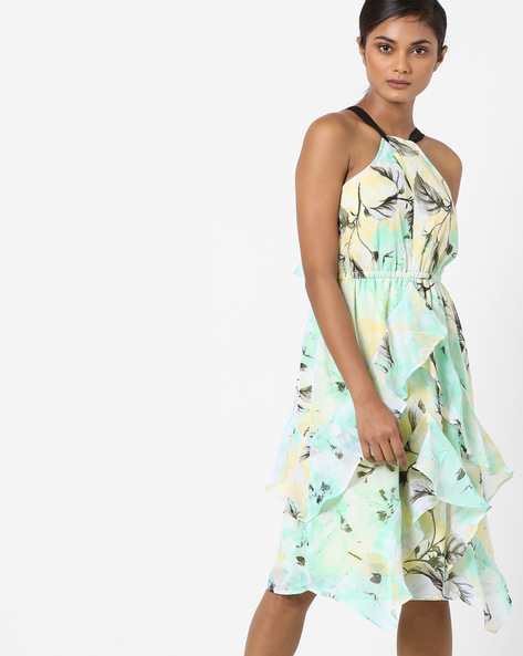 Leaf Print Halter-Neck Tiered Dress By Oxolloxo ( Multicolor )