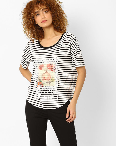 Striped T-shirt With Dropped Sleeves By RIO ( Black )