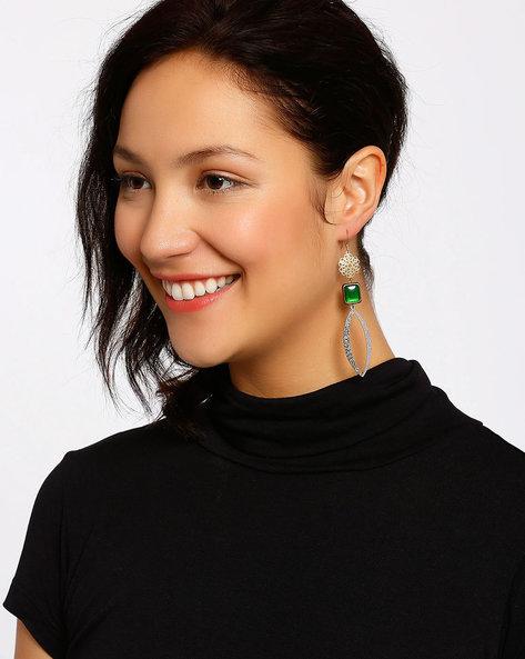 Gold-Plated Dangler Earrings By Shabnam Gitanjali ( Darkgreen ) - 460012331001
