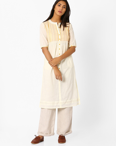 Straight Kurta With Button Placket By AJIO ( Offwhite )