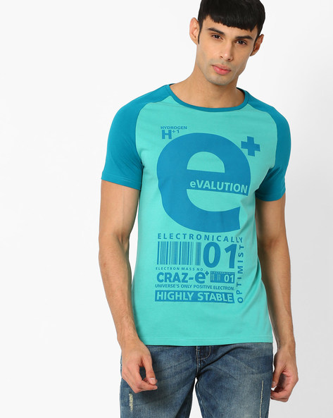 Typographic Print Regular Fit T-shirt By AJIO ( Teal )