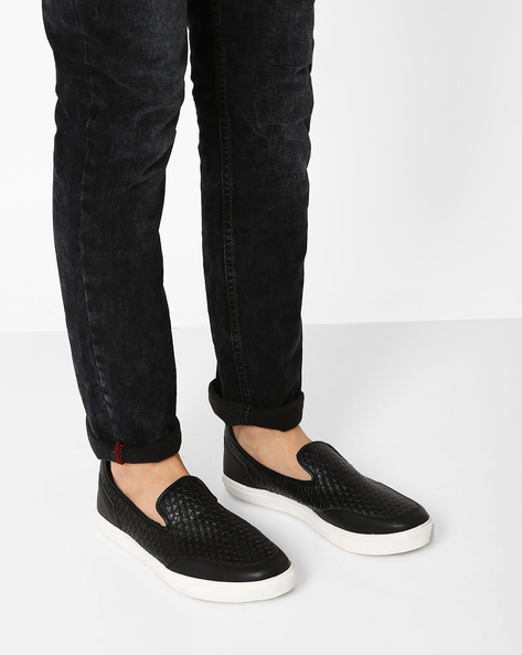 Basket-Weave Slip-On Sneakers By AJIO ( Black )