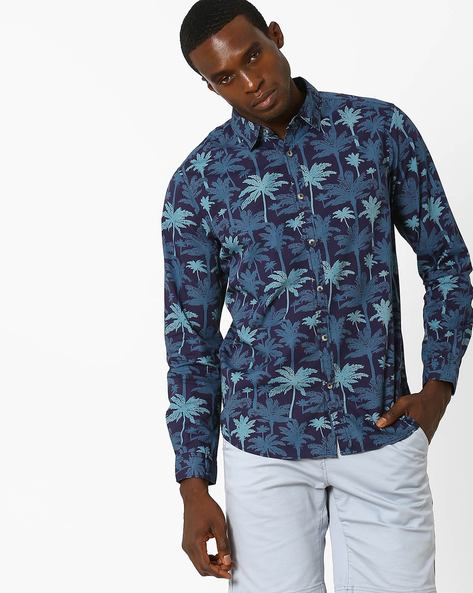 Palm Print Slim Fit Shirt By AJIO ( Navy )