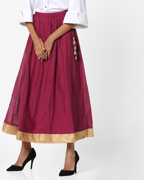 Flared Midi Skirt With Tasseled Tie-Up By Biba ( Maroon )