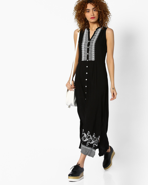 Sleeveless Printed Maxi Dress By Global Desi ( Black )