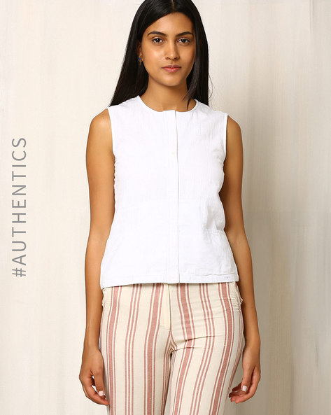 Handwoven Cotton Khadi Sleeveless Top By Red Sister Blue ( White )