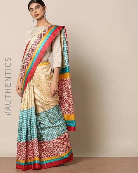 Handloom Pure Silk Tussar Printed Saree By Indie Picks ( Multi ) - 460146999001