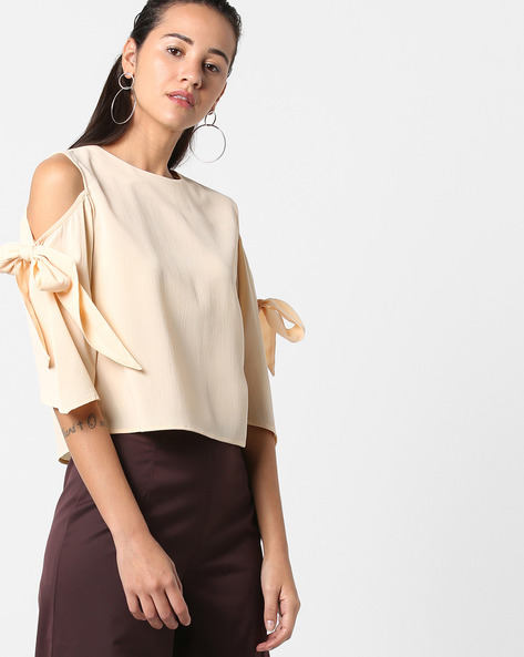 Cold-Shoulder Top With Tie-Up By AJIO ( Cream )