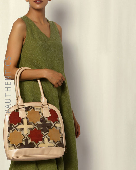 Handblock Print Ajrak Vegan Leather Shoulder Bag By A BIG INDIAN STORY ( Beige )