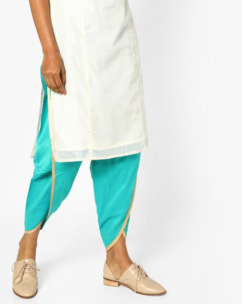 Dhoti Pants With Drawstring Waist By AJIO ( Aqua )