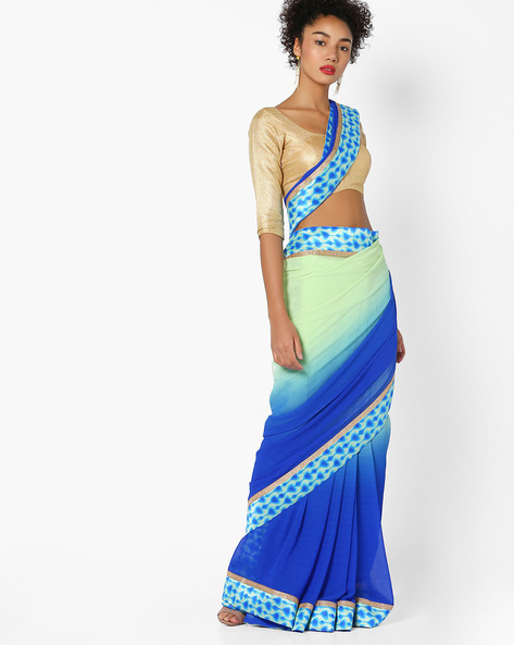 Ombre-Dyed Saree With Contrast Border By Arissa ( Blue )