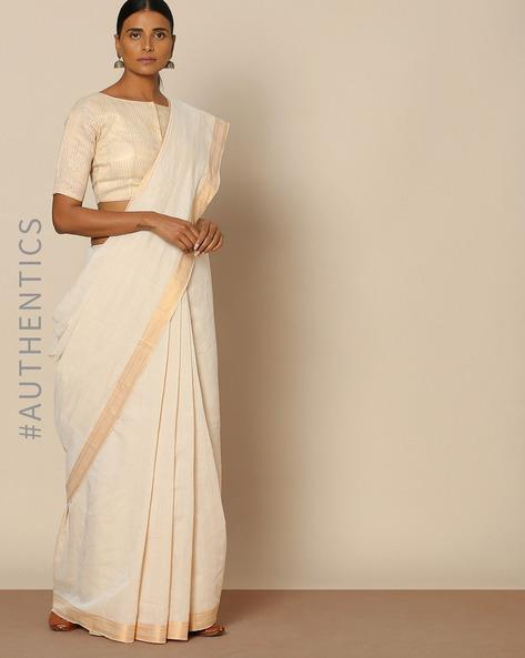 Mangalgiri Cotton Handloom Saree With Nizam Border By Indie Picks ( Offwhite )