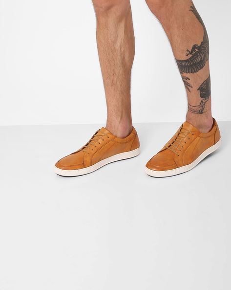 Faux-Leather Low-Top Sneakers By AJIO ( Tan )