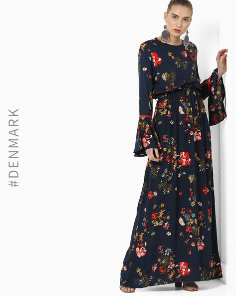 Floral Print Maxi Dress With Bell Sleeves By TRENDYOL ( Navy )