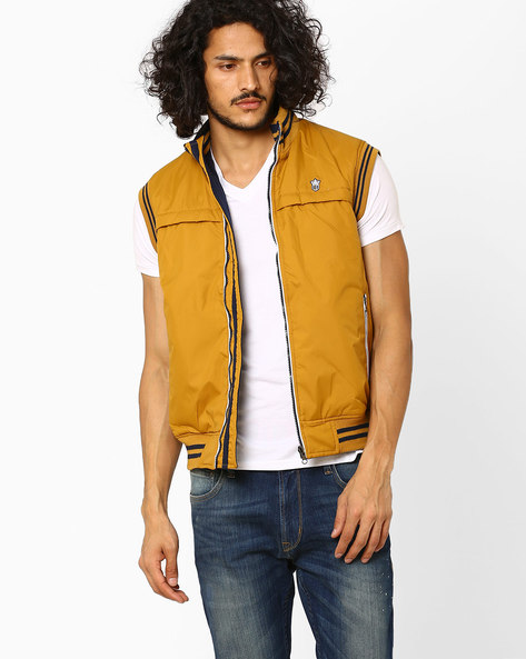 Reversible Jacket With Stand Collar By DUKE ( Mustard )