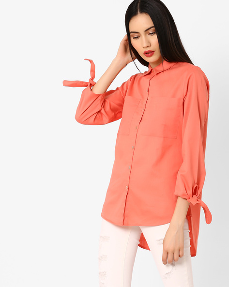 Oversized Shirt With Tie-Up Sleeves By AJIO ( Coral )