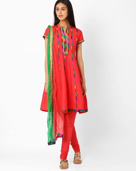 Churidar Kurta With Dupatta By AJIO ( Pink )