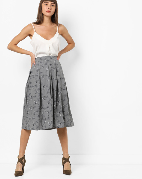 Floral Print Box Pleat Skirt By AMARE ( Grey )