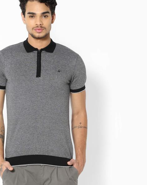 Cotton Sweater With Short Sleeves By UNITED COLORS OF BENETTON ( Black )