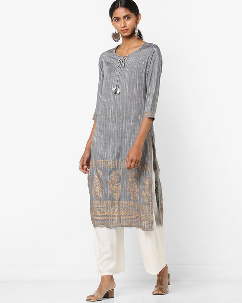 Textured Print Kurta With Tie-Up By Melange By Lifestyle ( Black )