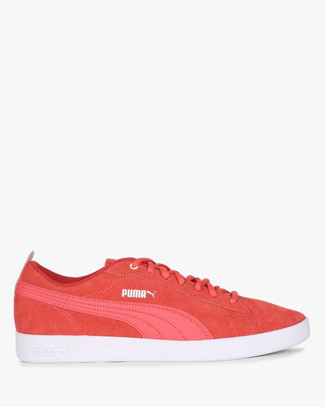 Smash V2 Low-Top Lace-Up Shoes By Puma ( Coral )