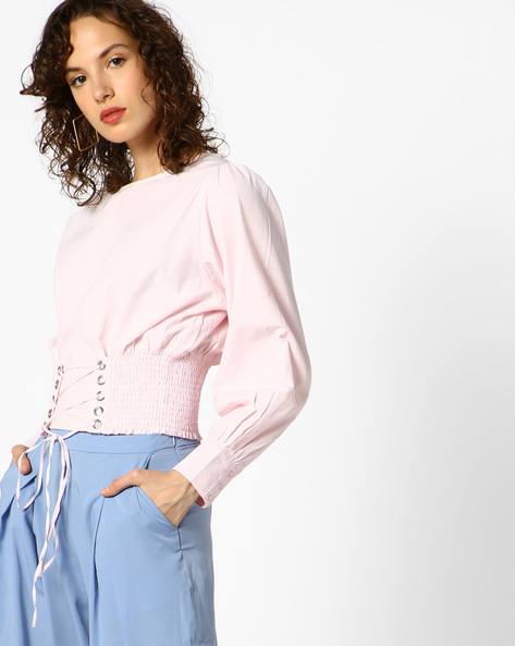 Top With Front Lace-Up By AJIO ( Lightpink )