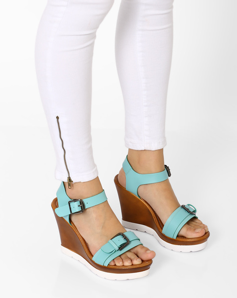 Wedges With Buckle Closure By MFT Couture ( Blue )