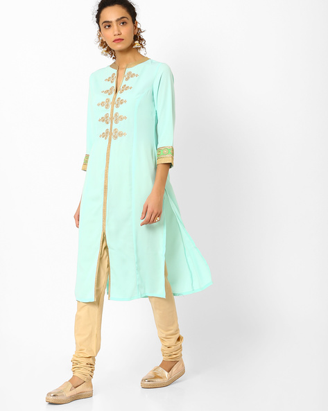 Straight Kurta With Embroidery By AJIO ( Teal )