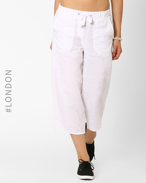 Pure Linen Culottes By Marks & Spencer ( White )