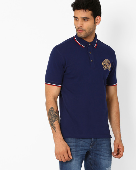 Slim Fit Polo T-shirt With Embroidered Logo By JOHN PLAYERS ( Blue )