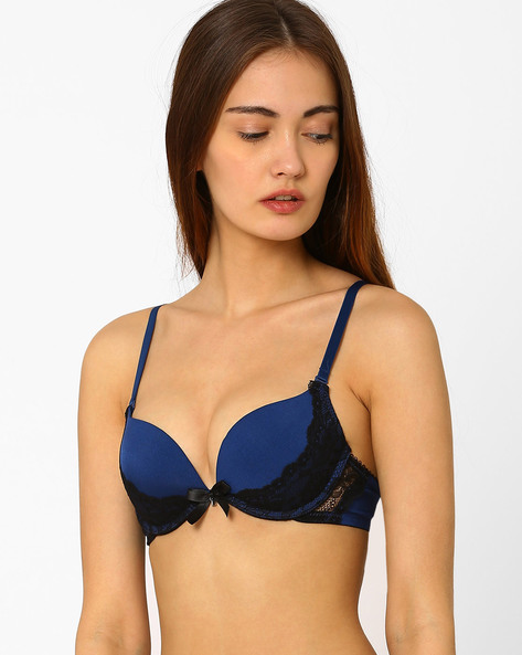 Underwired Padded Bra With Lace By PrettySecrets ( Blue )