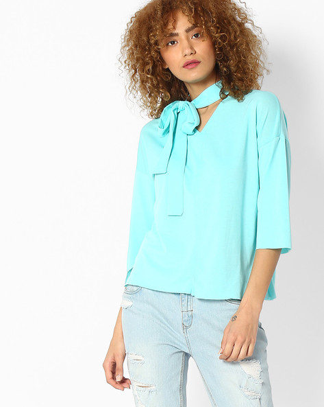 V-neck Boxy Top With Tie-Up By FIG ( Dkgreen )