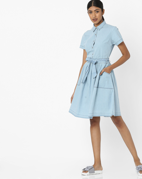 Denim Shirt Dress With Tie-Up By Tokyo Talkies ( Blue )