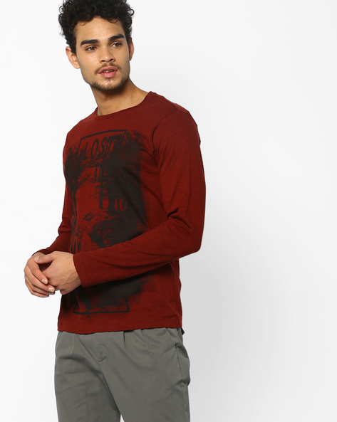 Crew-Neck Graphic Print T-shirt By AJIO ( Brown )