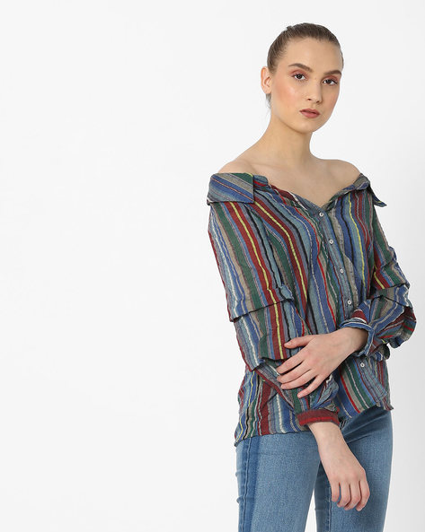 Striped Off-Shoulder Shirt By Rena Love ( Multi )