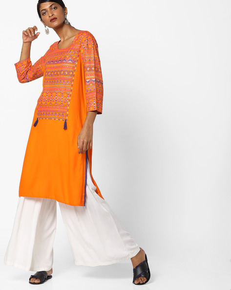 Printed Straight Kurta With Tassels By Melange By Lifestyle ( Orange )